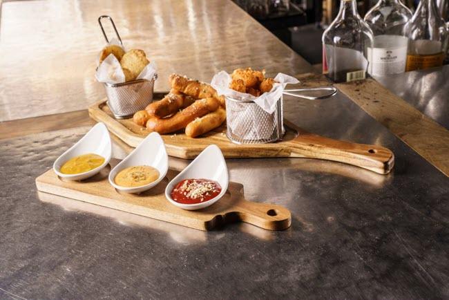 food on cutting boards